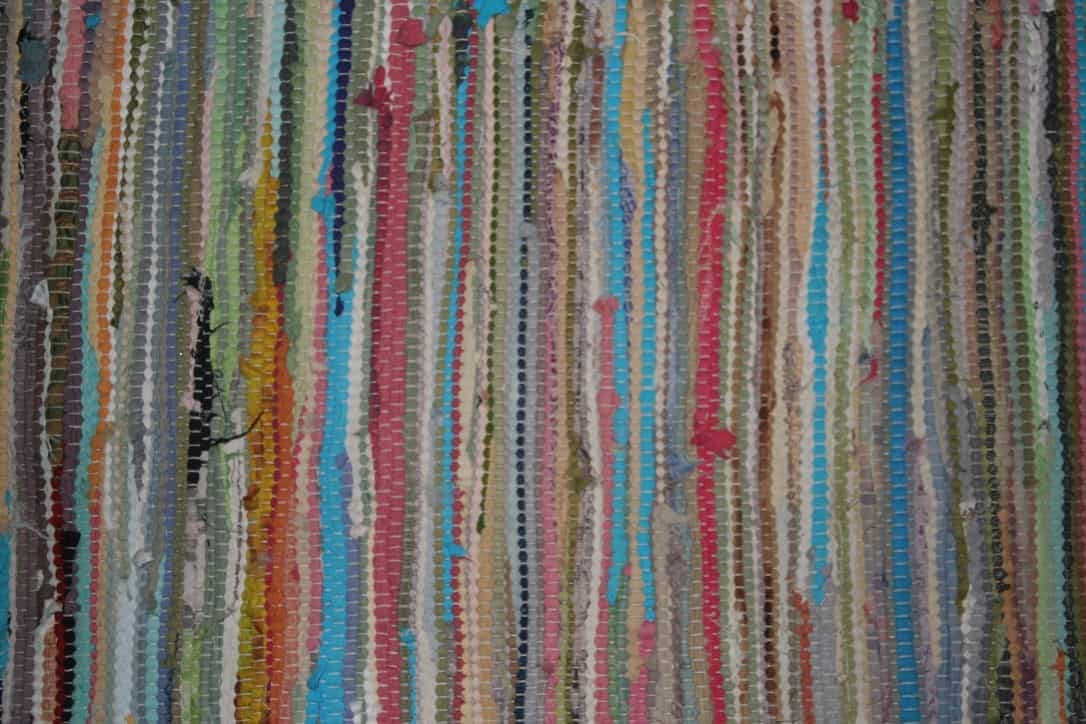 Close up of a colorful rag rug
