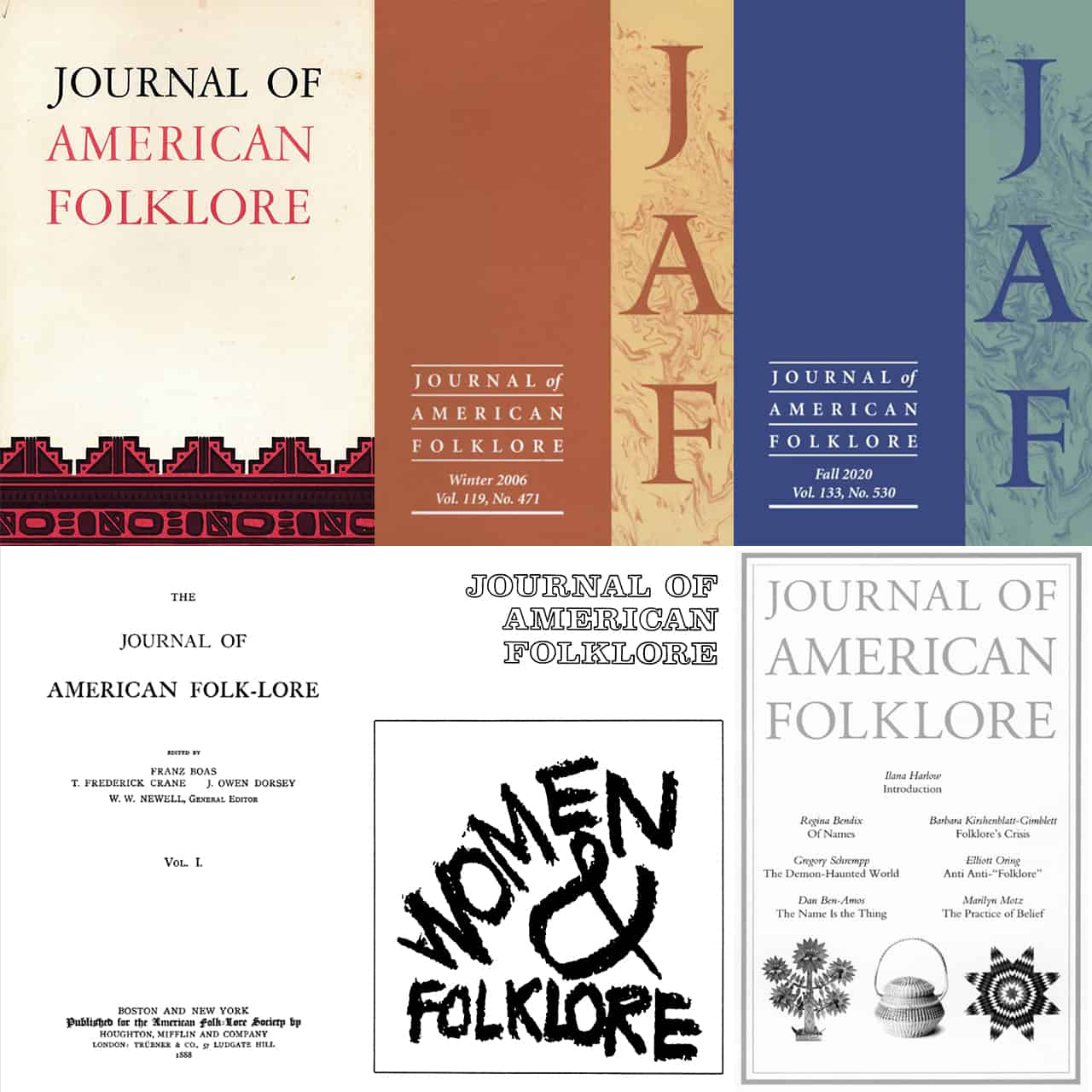 collection of historical and recent Journal of American Folklore covers