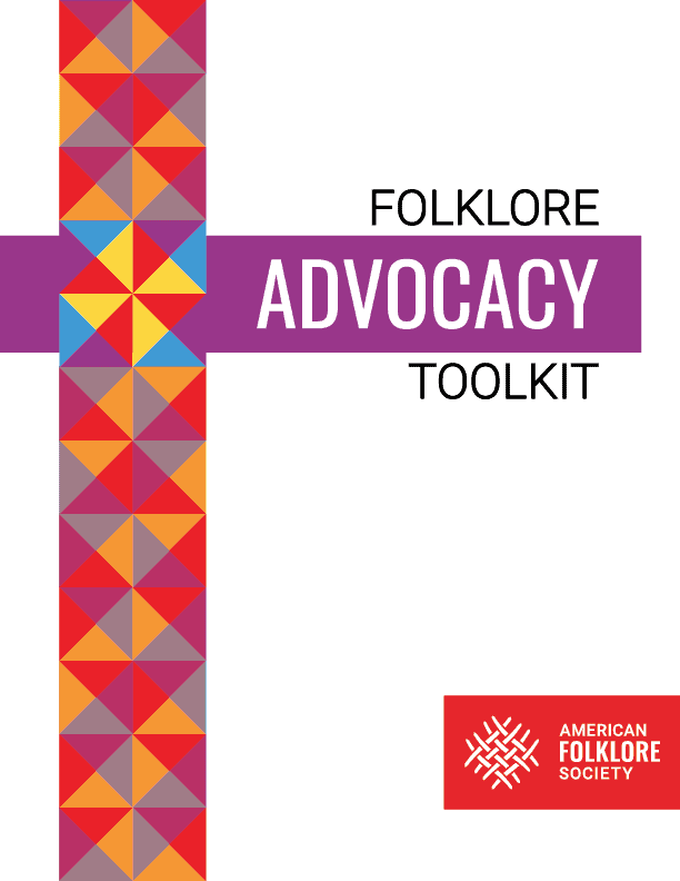 """The cover of a document titled, """"Folklore Advocacy Toolkit""""."""