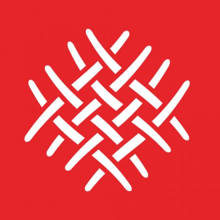 A white weave pattern on a red background.