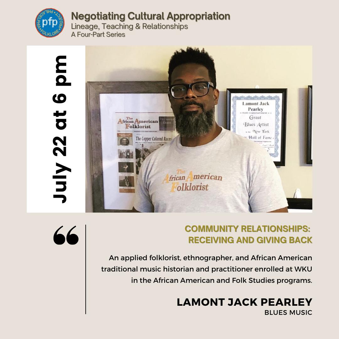 Philadelphia Folklore Project flyer featuring presenter Lamont Jack Pearley.