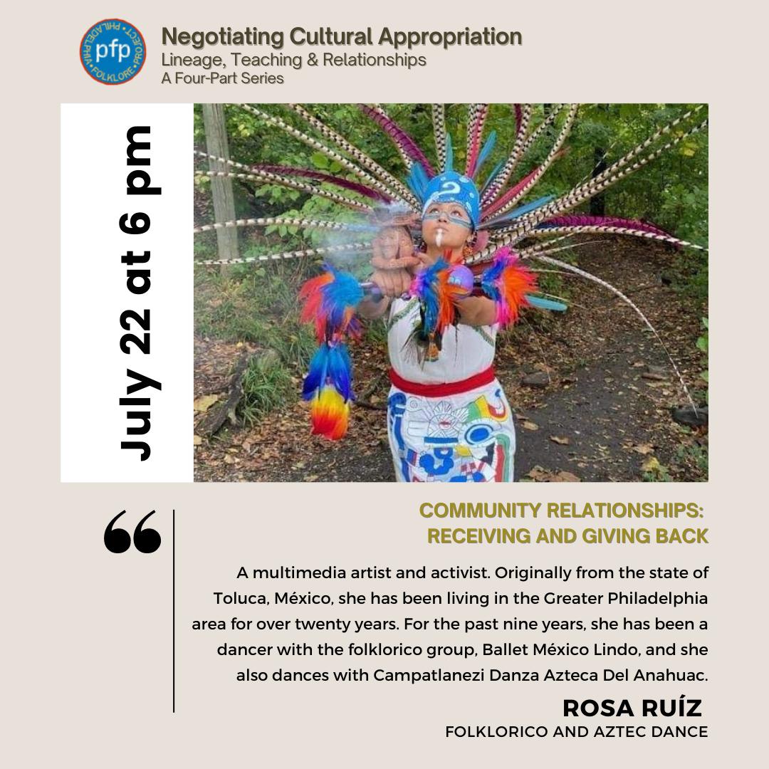 Philadelphia Folklore Project flyer featuring presenter Rosa Ruíz.