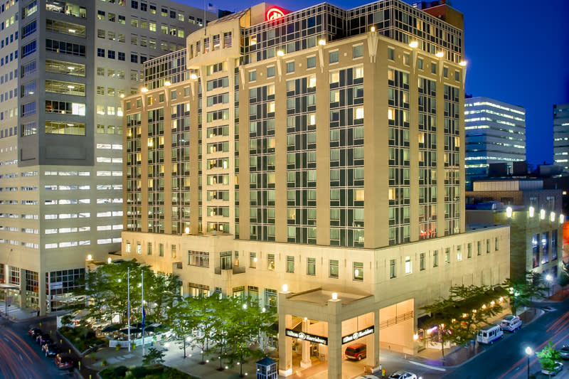The Hilton Hotel in downtown Harrisburg, PA at night.