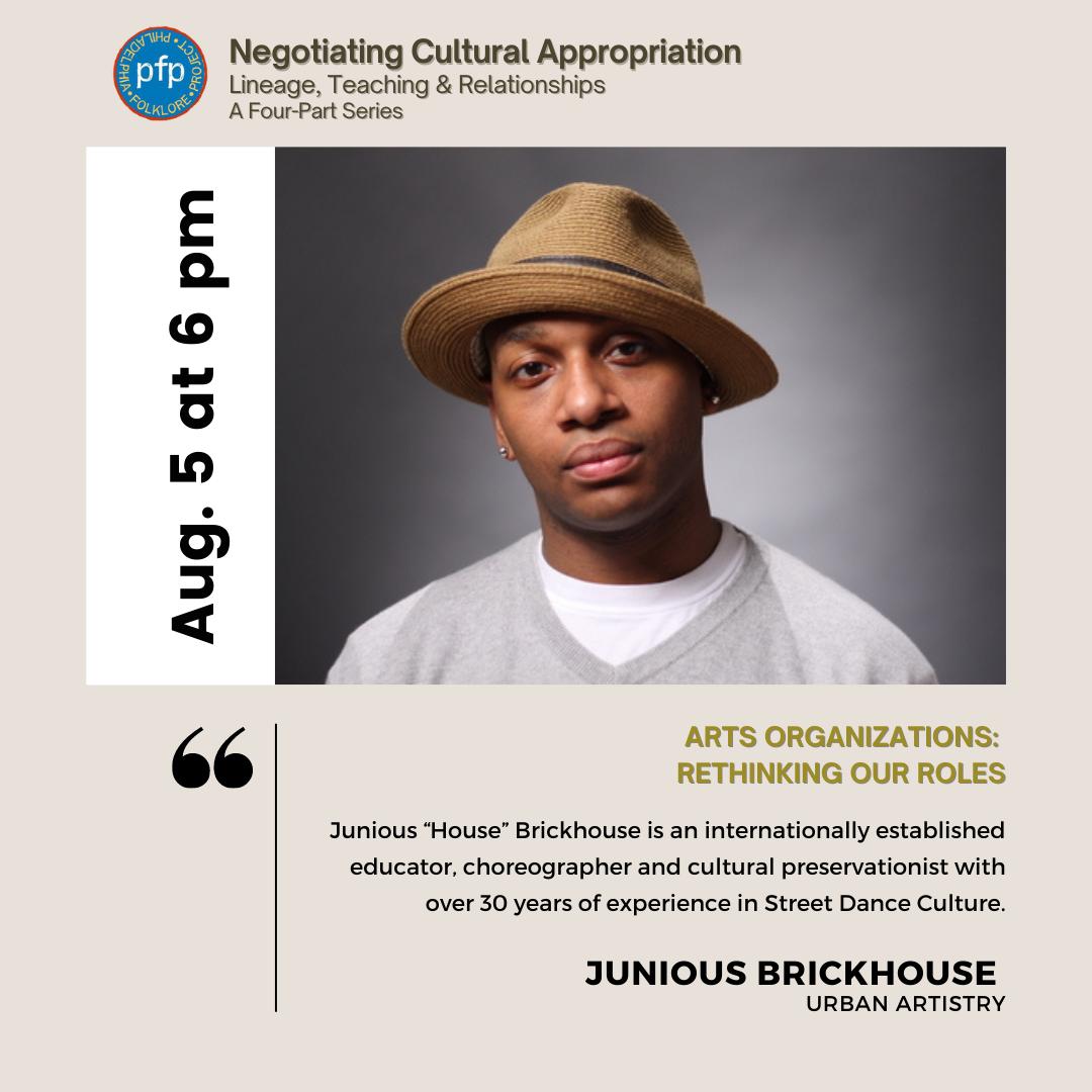 Philadelphia Folklore Project flyer featuring presenter Junious Brickhouse.