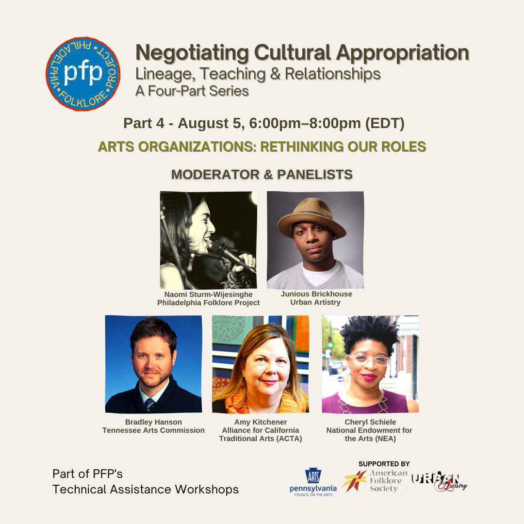 Flyer for the Philadelphia Folklore Project's August 5th webinar, featuring the headshots of the five presenters.