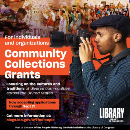 """Flyer that featured an African American man in side profile looking through a camera with the words """"Community Collections Grants"""" in large text."""
