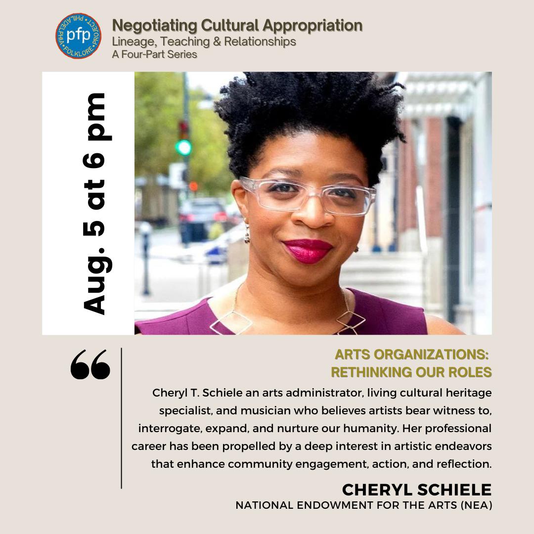 Philadelphia Folklore Project flyer featuring presenter Cheryl Schiele