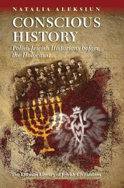 several Jewish motifs including a menorah and an historical photograph gathered on a deep red background with light brown around them on the book cover
