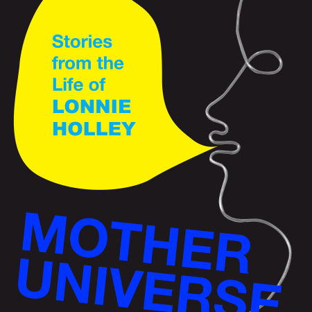 """a line-drawing sillhouette on a black background with a collaged yellow speech bubble saying """"stories from the life of lonnie holley"""""""